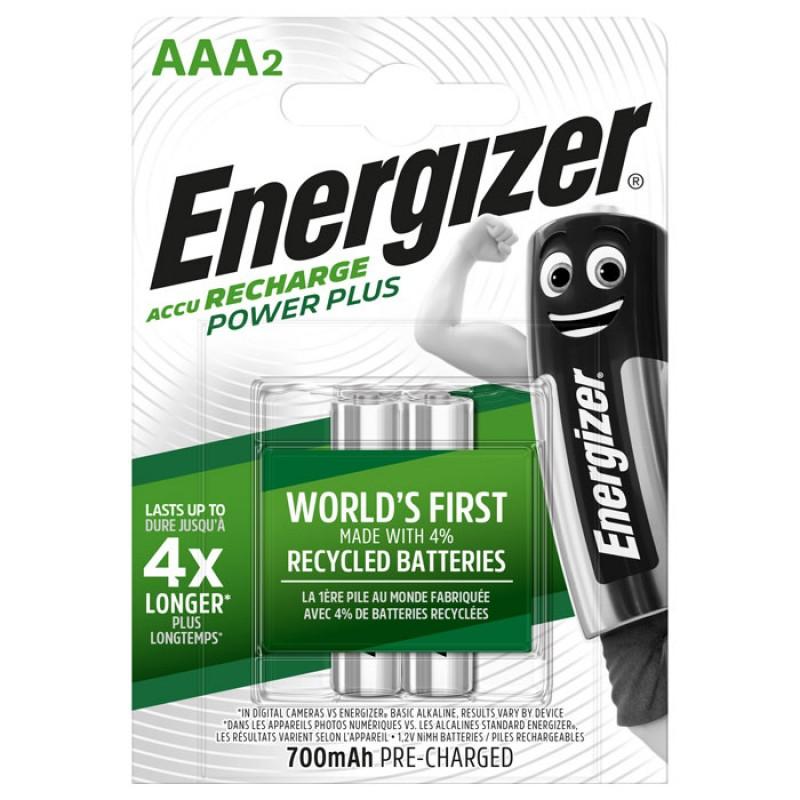 ENERGIZER AAA-HR03/700mAh/2TEM POWER PLUS RECHARGEABLE   F016481
