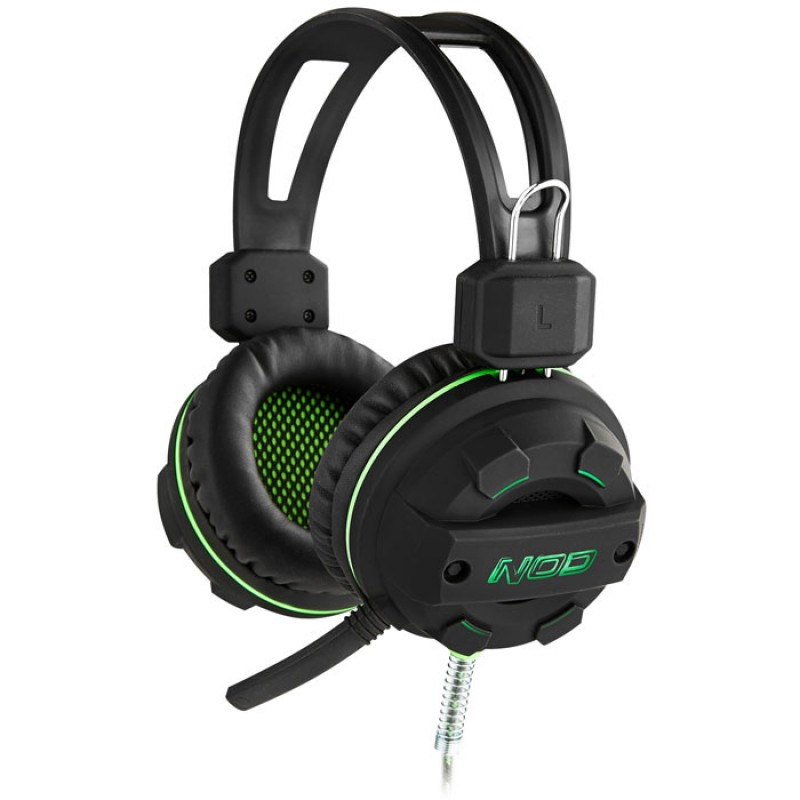 NOD G-HDS-002 GAMING HEADSET BLACK RUBBER WITH GREEN LED